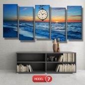 deniz manzara tablosu- saatli kanvas tablo MODEL 6 - 184x107 cm-7