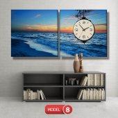 deniz manzara tablosu- saatli kanvas tablo MODEL 6 - 184x107 cm-8