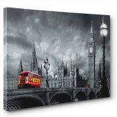 Kırmızı Otobüslü Siyah-Beyaz Tablo 50 x 100 cm