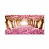 Pembe Ağaçlı Yol  Kanvas Tablosu 50 cm x 100 cm