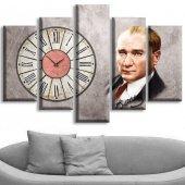 5 Parçalı Saatli Kanvas Tablolar - Atatürk Tablolar BÜYÜK BOY