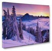 Bulutlu Kar Manzara Tablosu 80 x 125 cm