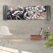 Kahverengi Çiçek Resimli Duvar Saati- Kabartma Çerçeveli Saatli Kanvas Tablo 166 x 55 cm