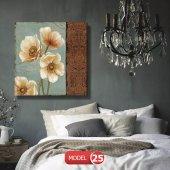krem-bej çiçek Resimli Duvar Tablosu 40 cm x 40 cm-2