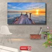 iskele ve kuşlar resimli  Kanvas Tablo 50 x 100 cm-3