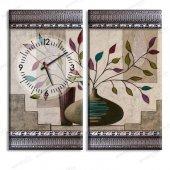 5 cm Kabartma Çerçeveli Saatli Tablo - Çiçek Desenli Tablo