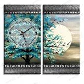 5 cm Kalınlığında Kabartma Çerçeveli Saatli Tablo - Ağaçlı Tablolar 2 Adet 55x30 cm