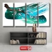 5 parçalı-turkuaz fırça darbeli dal  tablosu MODEL 13 - 120x60 cm-2