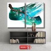 5 parçalı-turkuaz fırça darbeli dal  tablosu MODEL 13 - 120x60 cm-4