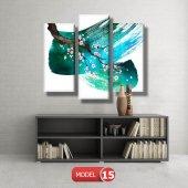 5 parçalı-turkuaz fırça darbeli dal  tablosu MODEL 13 - 120x60 cm-7