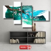 5 parçalı-turkuaz fırça darbeli dal  tablosu MODEL 9 - 162x75 cm-8