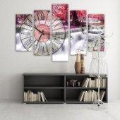 Dekoratif Market 5 Parçalı Saatli Kanvas Tablolar -Saatli Şelale Manzara Tabloları KÜÇÜK BOY