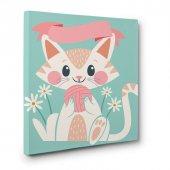 bebek odası için led ışıklı kedi  tablosu 40 cm x 40 cm