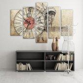 Dekoratif Market 5 Parçalı Saatli Kanvas Tablolar - İnsan Figürlü Tablosu ORTA BOY