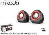 Mikado MD-179 2.0 Siyah/Kırmızı Usb+SD+FM Radyolu Speaker-2