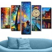 Dekoratif Market 5 Parçalı Saatli Kanvas Tablolar - Yağlıboya Görünümlü Tablo BÜYÜK BOY