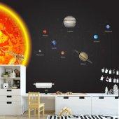 Çocuk Odası Duvar Kağıdı - Güneş Sistemi - Seçenekli Ürün 600x300 cm