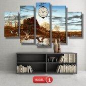 ördek ve sazlık tablo saat modelleri MODEL 8 - 123x60 cm-2