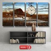 ördek ve sazlık tablo saat modelleri MODEL 8 - 123x60 cm-3