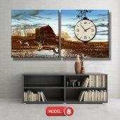 ördek ve sazlık tablo saat modelleri MODEL 8 - 123x60 cm-8