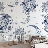 çocuk Odası Duvar Kağıdı Güneş Ay Seçenekli Ürün 500x300 Cm