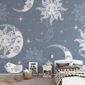 Çocuk Odası Duvar Kağıdı - Güneş Ay - Seçenekli Ürün 700x375 cm