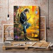 yağlı boya görünümlü müzisyen kanvas  tablosu 125x80 cm