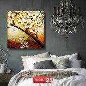 çiçekli kahve tonlu tablo 30 cm x 30 cm-2