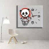 75X65 Panda Resimli Saatli  Duvar Tablosu