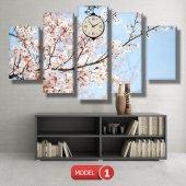 bahar  tabloları - saatli kanvas tabloları MODEL 2 - 129x75 cm-2