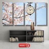 bahar  tabloları - saatli kanvas tabloları MODEL 2 - 129x75 cm-3