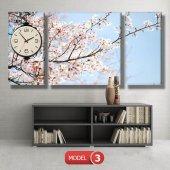 bahar  tabloları - saatli kanvas tabloları MODEL 2 - 129x75 cm-4