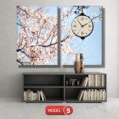 bahar  tabloları - saatli kanvas tabloları MODEL 2 - 129x75 cm-6