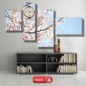 bahar  tabloları - saatli kanvas tabloları MODEL 2 - 129x75 cm-7