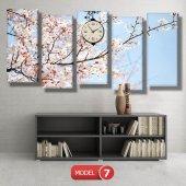 bahar  tabloları - saatli kanvas tabloları MODEL 2 - 129x75 cm-8