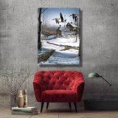 kış temalı orman manzara  tablosu 100x70 cm