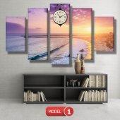 deniz manzaralı tablolar - saatli kanvas tablo MODEL 1 - 162x75 cm-2