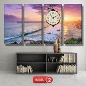 deniz manzaralı tablolar - saatli kanvas tablo MODEL 1 - 162x75 cm-3