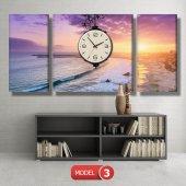deniz manzaralı tablolar - saatli kanvas tablo MODEL 1 - 162x75 cm-4