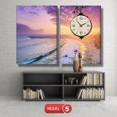 deniz manzaralı tablolar - saatli kanvas tablo MODEL 1 - 162x75 cm-6
