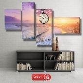 deniz manzaralı tablolar - saatli kanvas tablo MODEL 1 - 162x75 cm-7