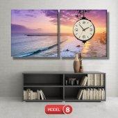 deniz manzaralı tablolar - saatli kanvas tablo MODEL 1 - 162x75 cm-8