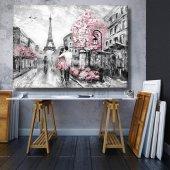 pembe ağaç ve sevgililer siyah beyaz   kanvas tablosu 70x50 cm
