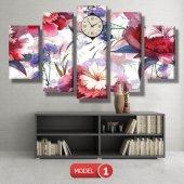 kırmızı-mavi çiçekler tablosu - saatli kanvas tablo MODEL 8 - 123x60 cm-2