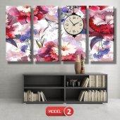 kırmızı-mavi çiçekler tablosu - saatli kanvas tablo MODEL 8 - 123x60 cm-3