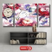 kırmızı-mavi çiçekler tablosu - saatli kanvas tablo MODEL 8 - 123x60 cm-4