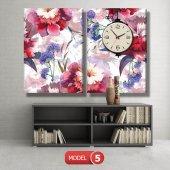 kırmızı-mavi çiçekler tablosu - saatli kanvas tablo MODEL 8 - 123x60 cm-5