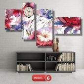 kırmızı-mavi çiçekler tablosu - saatli kanvas tablo MODEL 8 - 123x60 cm-6