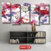 kırmızı-mavi çiçekler tablosu - saatli kanvas tablo MODEL 8 - 123x60 cm-7