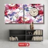 kırmızı-mavi çiçekler tablosu - saatli kanvas tablo MODEL 8 - 123x60 cm-8